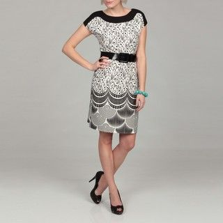 Spense Womens Black/ White Abstract Belted Dress