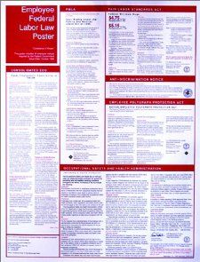 Federal Labor Law Compliance 6 Poster Includes Minimum Wage, Family