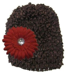 Dark Brown Crochet Hat with Red Daisy Flower Clothing