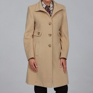 Larry Levine Womens Camel Hair Funnel Neck Coat