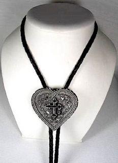 Diamondcut Heart w/Black Cross Enamel Religious Bolo Tie