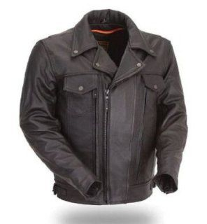 First Classics® Mens Utility Cruising Leather Jacket. Full Featured