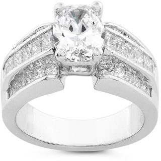 Platinum 2 7/8ct TDW Certified Oval Diamond Ring (J, SI2)