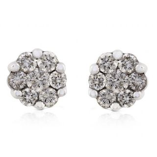 14k White Gold 1ct TDW Diamond Earrings (IJ,I1 I2)