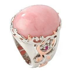 Michael Valitutti Palladium/ Silver/ 18k Vermeil Pink Opal and Ruby