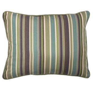 Green/Blue/Purple Stripe Corded Outdoor Pillows with Sunbrella Fabric