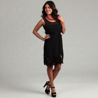 Gabby Skye Womens Black Belted Dress