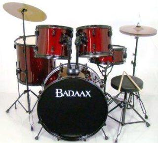 Badaax Ninja 5 Pc Drum Set w/ Hdwr, Cyms & Throne Red
