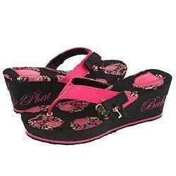 Baby Phat Monamour Wedge Fuchsia/Black/Gold