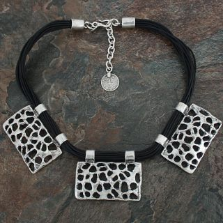 Silverplated Pewter Free Art Rectangles Leather Necklace (Turkey