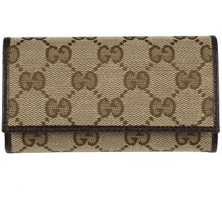 Gucci Brown Logo Fabric Tri fold Key Case