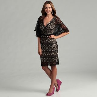 Marina Womens Black/ Nude Lace Dress