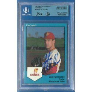 JOHN WETTELAND Signed 1989 Albq Dukes BGS JSA Dodgers Yankees Expos