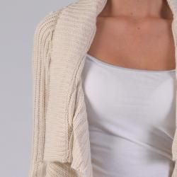 Ci Sono by Adi Juniors Cable Knit Ruffled Open front Cardigan