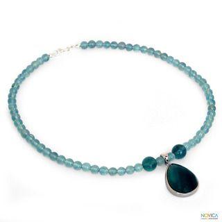 Sterling Silver Blue Genie Fluorite Necklace (Thailand)