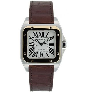 Cartier Mens Santos 18k Gold and Steel Automatic Watch
