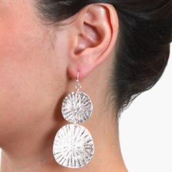 Silvertone Sand Dollar Design Dangle Earrings