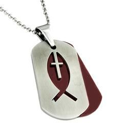 Two tone Stainless Steel Fisherman Cross Double Dog Tag Necklace