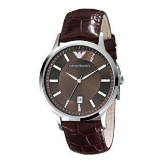 Emporio Armani Classic Mens Brown Leather Strap Watch