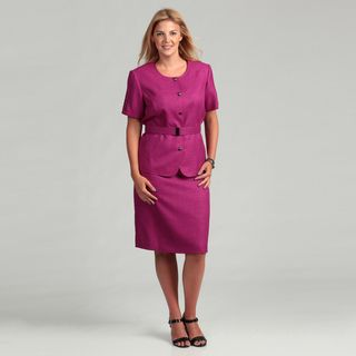 Tahari ASL Womens Plus Size Short sleeve Round Neck 2 piece Skirt