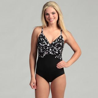 Jantzen Womens Black/ Animal Print One piece Swimsuit