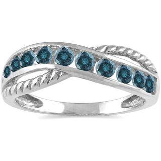 14k White Gold 1/2ct TDW Blue Diamond Ring