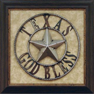 Antonio Iron God Bless Texas Framed Wall Art