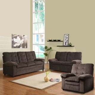 Sequoia Chocolate Chenille Tufted 3 piece Living Room Set Today $809