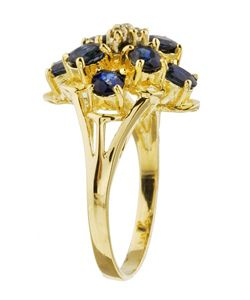14k Yellow Gold Sapphire and Diamond Cluster Ring