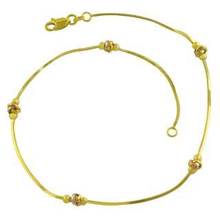 Fremada 14k Tri color Gold 10 inch Love Knot Anklet