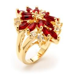 High polish 14 karat Gold plated Red and white Crystal flower Ring