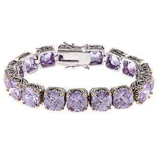 Sterling Silver Lavender Cubic Zirconia Link Bracelet