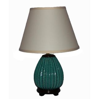 Ceramic Speckled Turquoise Ribbed Table Lamp