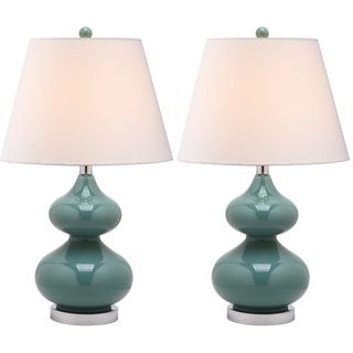 Eva Double Gourd Glass Marine Blue 1 light Table Lamps (Set of 2
