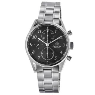 Tag Heuer Mens Carrera Black Dial Stainless Steel Chronograph Watch