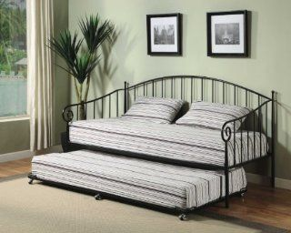 Matt Black Metal Twin Size Day Bed (Daybed) Frame with