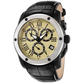 Swiss Legend Mens Traveler Black Leather Watch