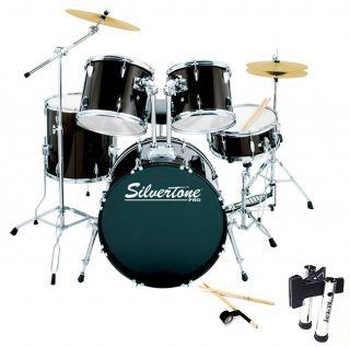 Silvertone/Black Five piece Drum Kit Package