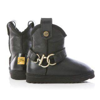 Kinder Lammfell Stiefel Western Nappaleder, schwarz, Größe 30