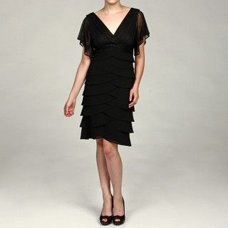 Scarlett Womens Black Glitter Ruffle Dress