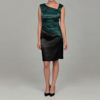 Ellen Tracy Womens Green/ Black Pleated Dress