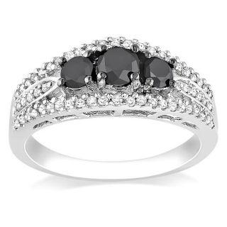 Miadora 10k White Gold 1ct TDW Black and White Diamond 3 stone Ring (G