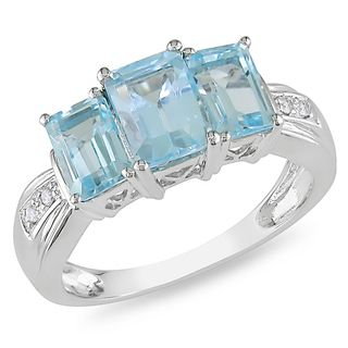 Miadora 14k White Gold Blue Topaz and Diamond Accent Ring