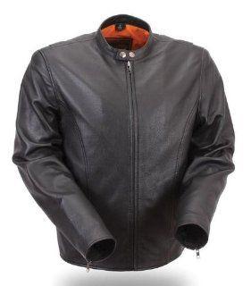 First MFG Mens Lightweight Summer Leather Jacket. Black Satin Lining