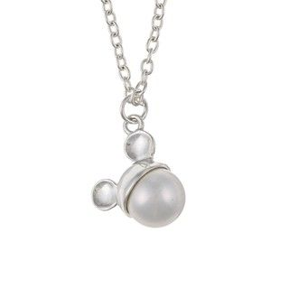 Disneys Mickey Mouse Sterling Silver Faux Pearl Necklace