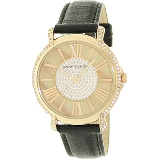 Anne Klein Womens Crystal accented Mother of Pearl Dial Watch