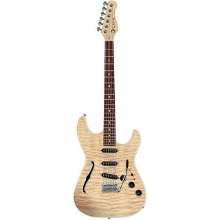 Luna Deco Semi hollow Natural STE Electric Guitar