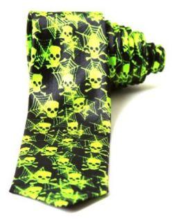 Trendy Skinny Tie   Black Lime Skulls and Spider Webs