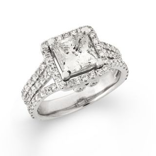 14k White Gold 3 1/4ct TDW Princess cut Diamond Engagement Ring (F G