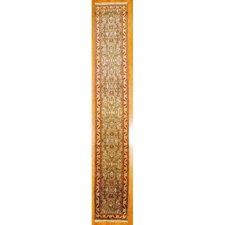 Indo Hand knotted Green/ Red Mahal Wool Rug (26 x 161)